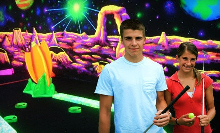 18 Holes of Glow-in-the-Dark Mini Golf for Four People  - Space Golf in Orland Park