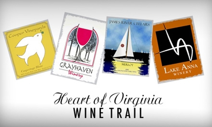 Heart of Virginia Wine Trail - Multiple Locations: $5 for Four Wine Tastings Plus a Souvenir Glass from Heart of Virginia Wine Trail ($10.50 Value)