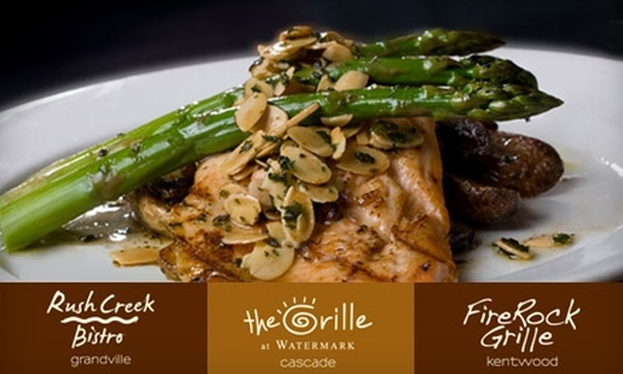 The Grille at Watermark - Multiple Locations: $20 for $40 Worth of Dinner Fare or $10 for $20 Worth of Lunch Fare at The Grille at Watermark, Rush Creek Bistro, or FireRock Grille