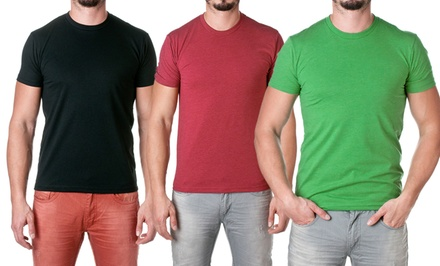 Men's Cotton-Blend Solid Crew-Neck Tees. Multiple Colors Available. Free Returns.