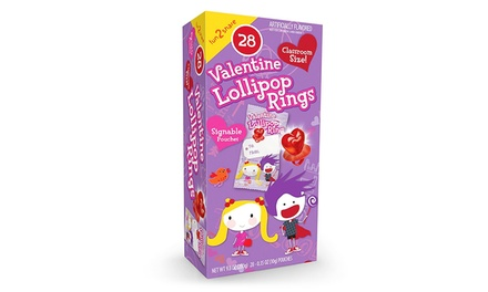 Primary Colors Valentine Lollipop Rings (28-Pack)