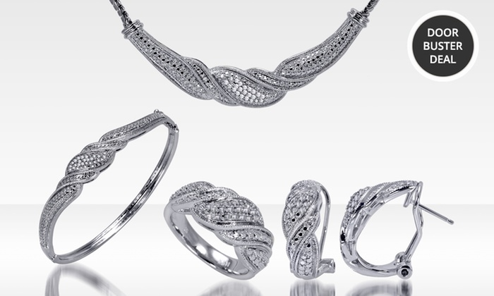 1.00 ct.tw. Diamond Jewelry 4-Piece Set: 1.00 ct.tw. Diamond Jewelry 4-Piece Set with Earrings, a Necklace, Bracelet, and Ring. Free Returns.