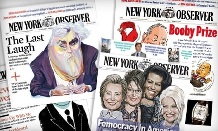 "The New York Observer: $14 for a One-Year Subscription (49 Issues) to ""The New York Observer"" ($29.50 Value)"