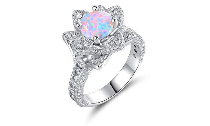 White fire opal flower ring by peermont groupon white fire opal flower ring by peermont mightylinksfo
