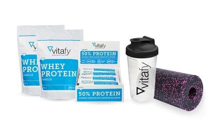 vitafy Fitness-Set mit Shaker, Blackroll, 2x Protein-Shake und 12 Protein-Riegel im Geschmack nach Wahl (Duesseldorf)