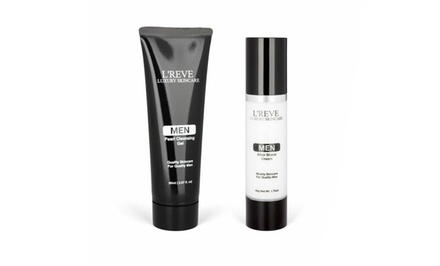 L'REVE Luxury Skincare Men's After Shave Cream and Pearl Cleansing Gel Bundle