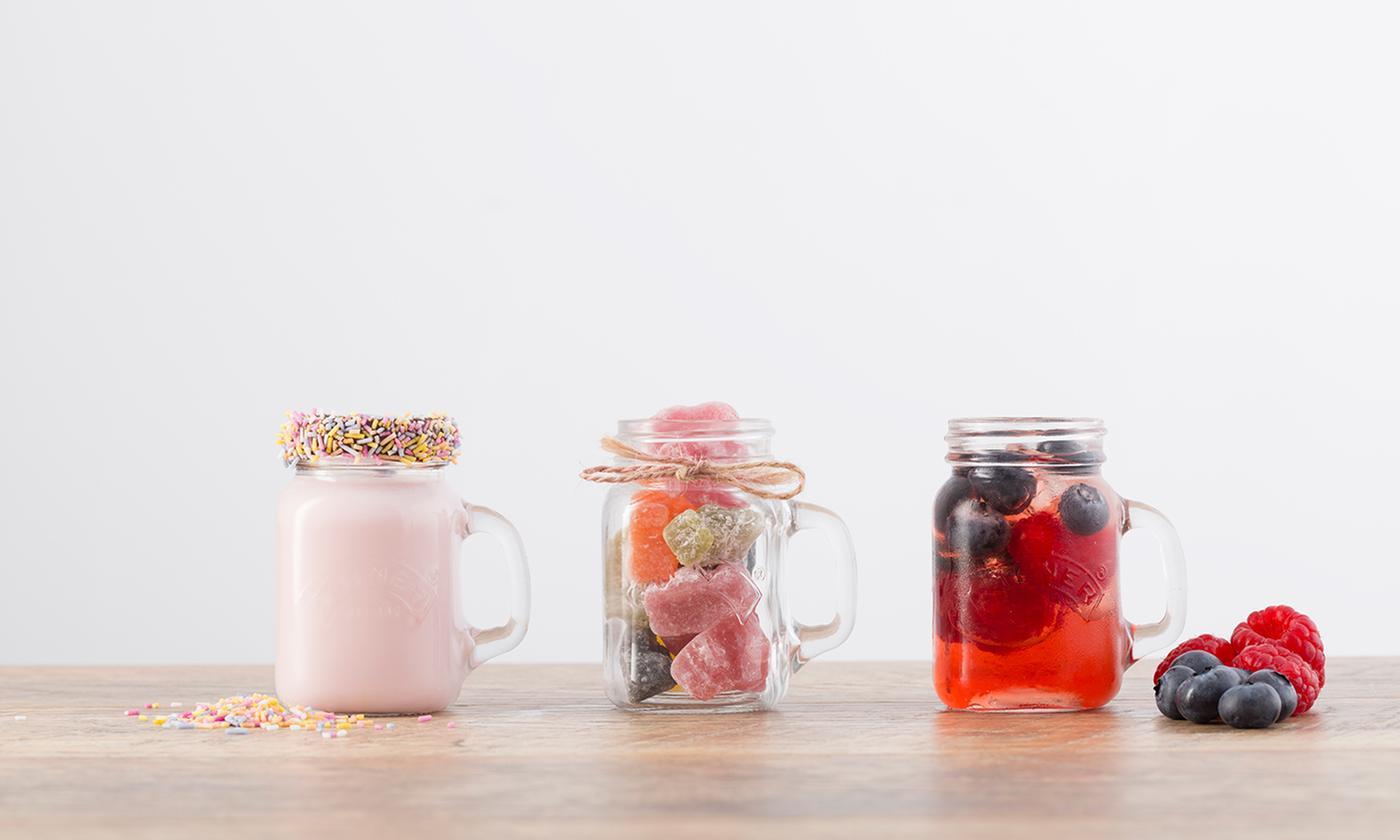 6 or 12 Kilner Mini Handled Mason Jars