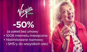 Virgin Mobile: 9 zł za groupon uprawniający do 50% zniżki za pakiet w Virgin Mobile przez 6 miesięcy