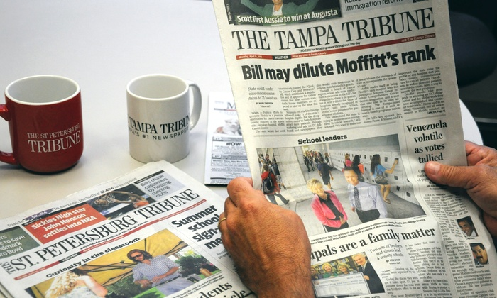 """The Tampa Tribune/The St. Petersburg Tribune - The Tampa Tribune/The St Petersburg Tribune: 52-Week Digital and Home-Delivery Subscription to """"The Tribune"""" (Up to 78% Off). Three Options Available."""