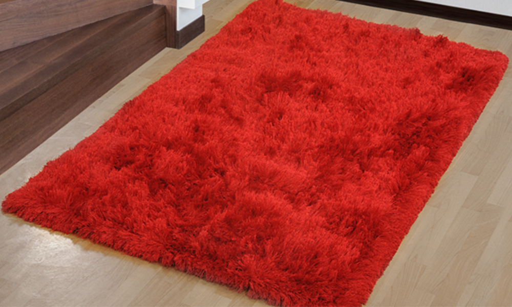 Lovely Red Faux Fur Rug - Rug Designs XM84