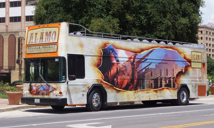 Alamo Double Decker - Tour ticket office: Hop-On, Hop-Off Double-Decker Bus Tour from Alamo Double Decker (Up to 62% Off). Four Options Available.