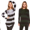 Women's Long-Sleeve Striped Fringed Cowl-Neck Tunic Top