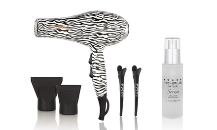 Tourmaline Pro Blow Dryer and Royal Natural Hair Serum Set