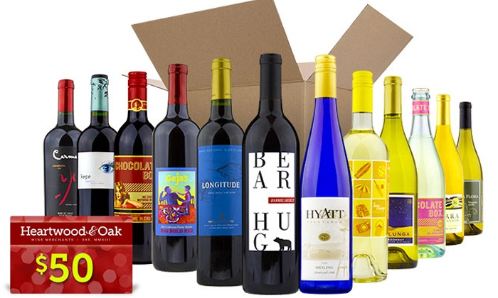 Heartwood & Oak: 6 or 12 Bottles of Choose-Your-Own Premium Wine Plus $50 Gift Card from Heartwood & Oak (Up to 78% Off)