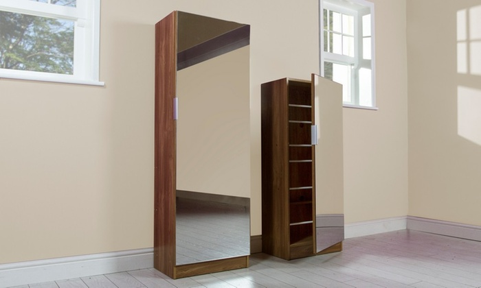 4ft or 5ft Mirrored Shoe Cabinet | Groupon Goods