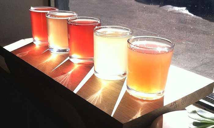 Happy Leaf Kombucha - Five Points: Kombucha Tea Flights and Growlers for Two or Four at Happy Leaf Kombucha (38% Off)