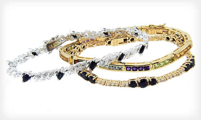 Gemstone Tennis Bracelets: Multi-Gemstone and Sapphire Tennis Bracelets (Up to 82% Off). Three Styles Available. Free Shipping and Free Returns.