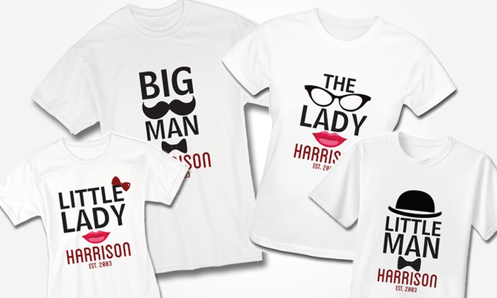 Personalized Family T-Shirts (1-, 2-, 3-, or 4-Pack) | Groupon