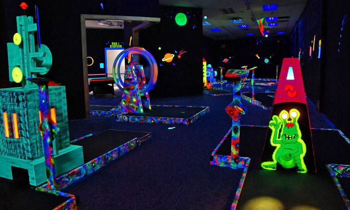 Galaxy Glow Mini Golf - Galaxy Glow Mini Golf: Two Rounds of Glow-in-the-Dark Mini Golf for 2 or 4 or Party Package at Galaxy Glow Mini Golf (Up to 50% Off)