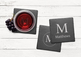 Custom Square Slate Coasters from Monogram Online (Set of 2 or 4)