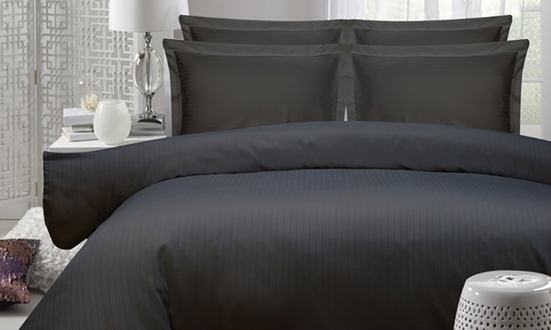 1200TC Cambridge Stripe or Plain Dyed Cotton Sheet or Stripe DuvetCover Set   Queen (from $59) or Super King (from $69)