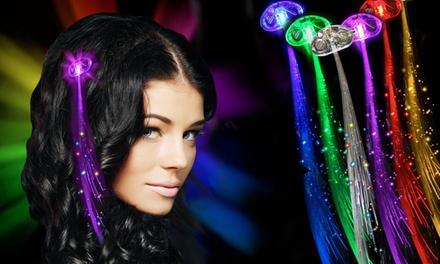 LED Flashing Fiberoptic Hair Braids (4-, 8-, or 12-Pack)