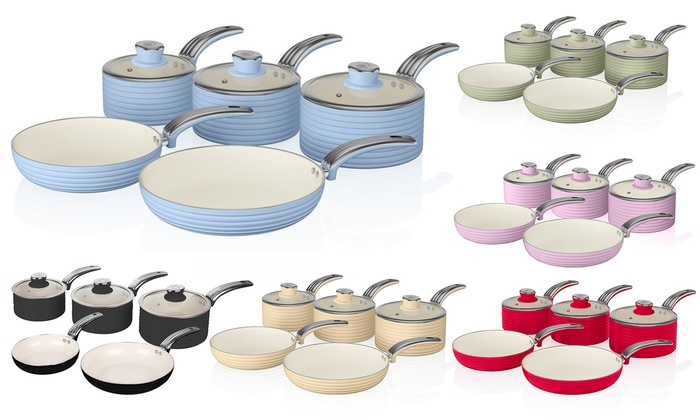 Two- Three- or Five-Piece Swan Retro-Inspired Pan Sets