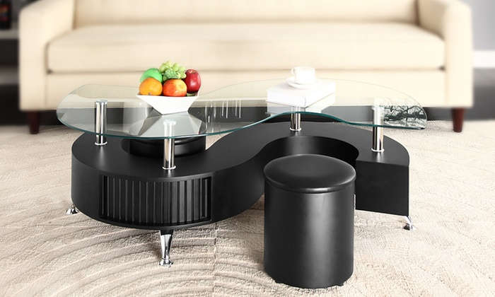 ... Groupon Goods Global GmbH: Madrid S Shaped Coffee Table With Stools For  £89.99 ...