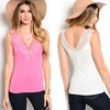 Women's Sleeveless Lace V-Neck Top