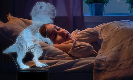 1 ou 2 veilleuses à lumière 3D LED forme dinosaure