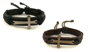 Leather Spanish Prayer Bracelet with Metal Cross