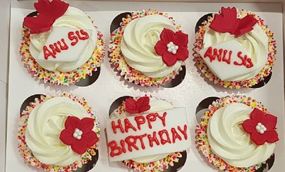 image for Six or 12 Cupcakes with Optional Message from Lux Cake