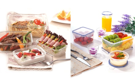 EarthCo Easylock Food Storage Container Set: 5-Piece Glass ($39) or 16-Piece Plastic ($49)