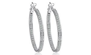 Swarovski Elements Hoop Earrings In 18k White Gold Plated Brass