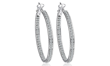 Swarovski Elements Hoop Earrings in 18K White Gold Plated Brass