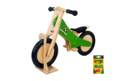 Kinderfeets Wooden Balance Bike with Chalkboard Frame and Stand. Multiple Colours Available.