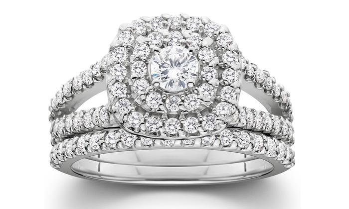 5eb9d78d0 1.00 CTTW Diamond Bridal Set | Groupon Goods