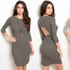 Striped 3/4 Sleeve Bodycon Junior's Dresses with Back Cut Out
