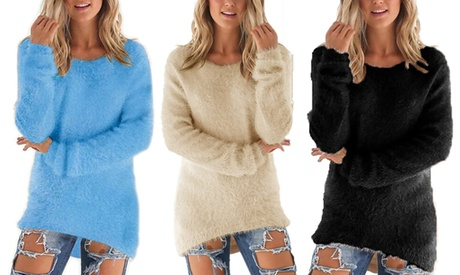 Suéter esponjoso para mujer