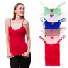 6-Pack Ladies V-Neck Cami Tank Tops with Adjustable Straps