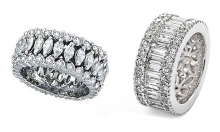 Vintage-Design Cubic Zirconia Rings in 18K White Gold Plated Brass