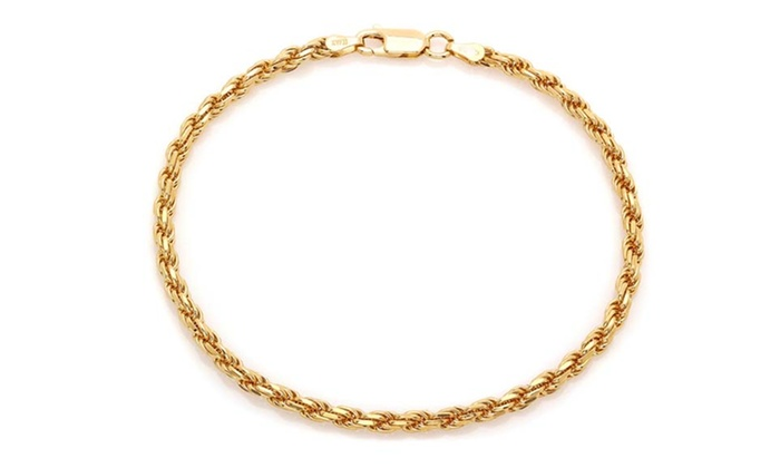 Solid 14k Yellow Gold Rope Bracelet