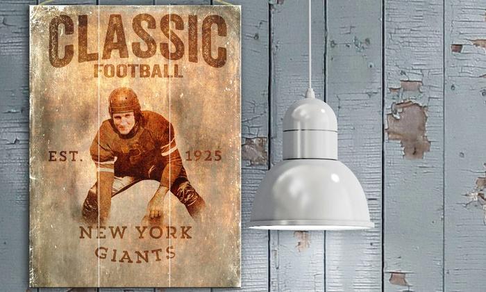 "New York Giants 12""x16"" Classic Football Plank Sign: New York Giants 12""x16"" Classic Football Plank Sign"