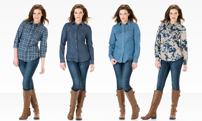 Seven7 Women's Button-Front Shirts: Seven7 Women's Button-Front Shirts. Multiple Patterns Available. Free Shipping and Returns.