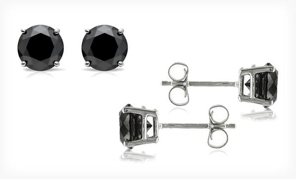 209 99 For 2 5 Carat Black Diamond Stud Earrings