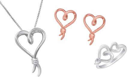 Knots of Love Heart Earrings, Pendants, and Rings. Multiple Styles Available.