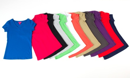 12-Pack of Women's V-Neck Tees in Assorted Colors