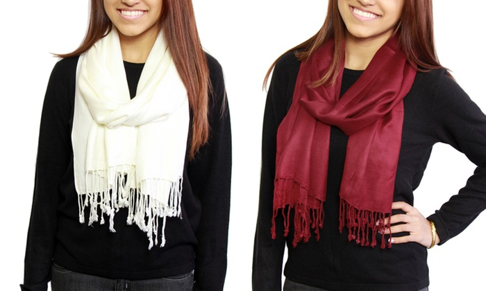 Set of 2 Pashmina Scarves: Set of 2 Pashmina Scarves in Red and Black or Red and Ivory. Free Returns.