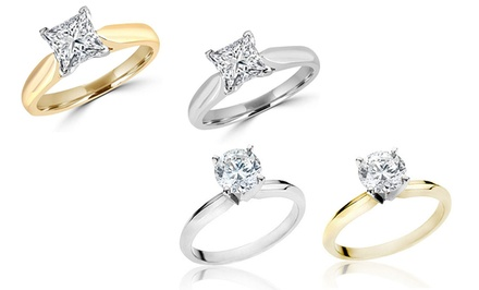 1.75 CTW Certified Princess-Cut or Round-Cut Diamond Solitaire Ring in 14K White or Yellow Gold