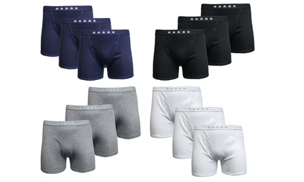 Galaxy By Harvic Men's Soft Knit Tagless Boxer Briefs (6-Pack)